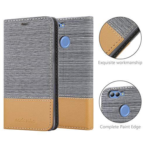 Cadorabo Hülle für Huawei NOVA 2 - Hülle in HELL GRAU BRAUN – Handyhülle mit Standfunktion und Kartenfach im Stoff Design - Case Cover Schutzhülle Etui Tasche Book - 5