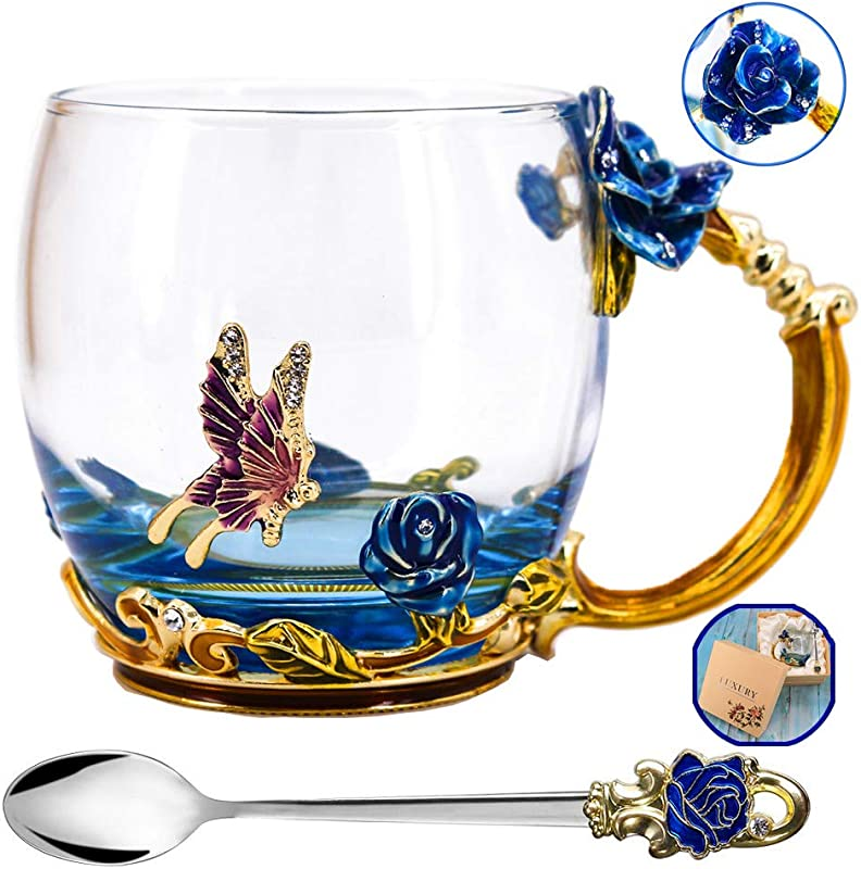 Tea Cup Mother S Day Gifts Coffee Mug Clear Glass Cups With Spoon Set Lead Free Handmade Butterfly Unique Rose Flower Enamel Design Birthday Decoration Wedding Gift Ideas Blue Short