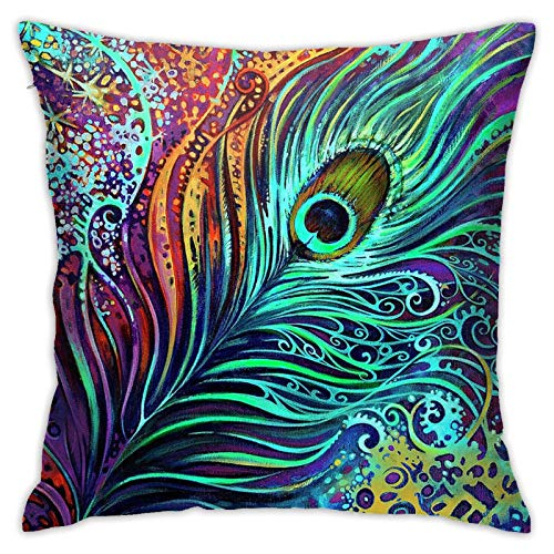UTWJLTL Throw Cushion Cover Multicolor Peacock Feather Art Throw Pillow Cover Case Square New Living Series Decorative One Size Double Side Design 18 x18 for Family Indoor Sofa Car
