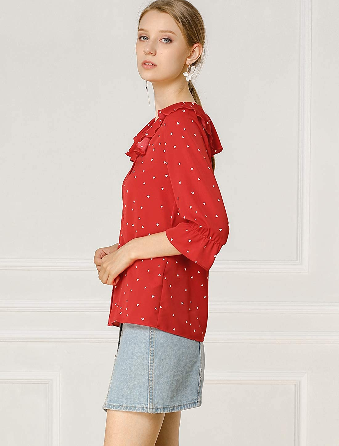 Allegra K Women's Button Down Shirt Ruffle Lapel Collar Elbow Sleeve Heart Print Blouse