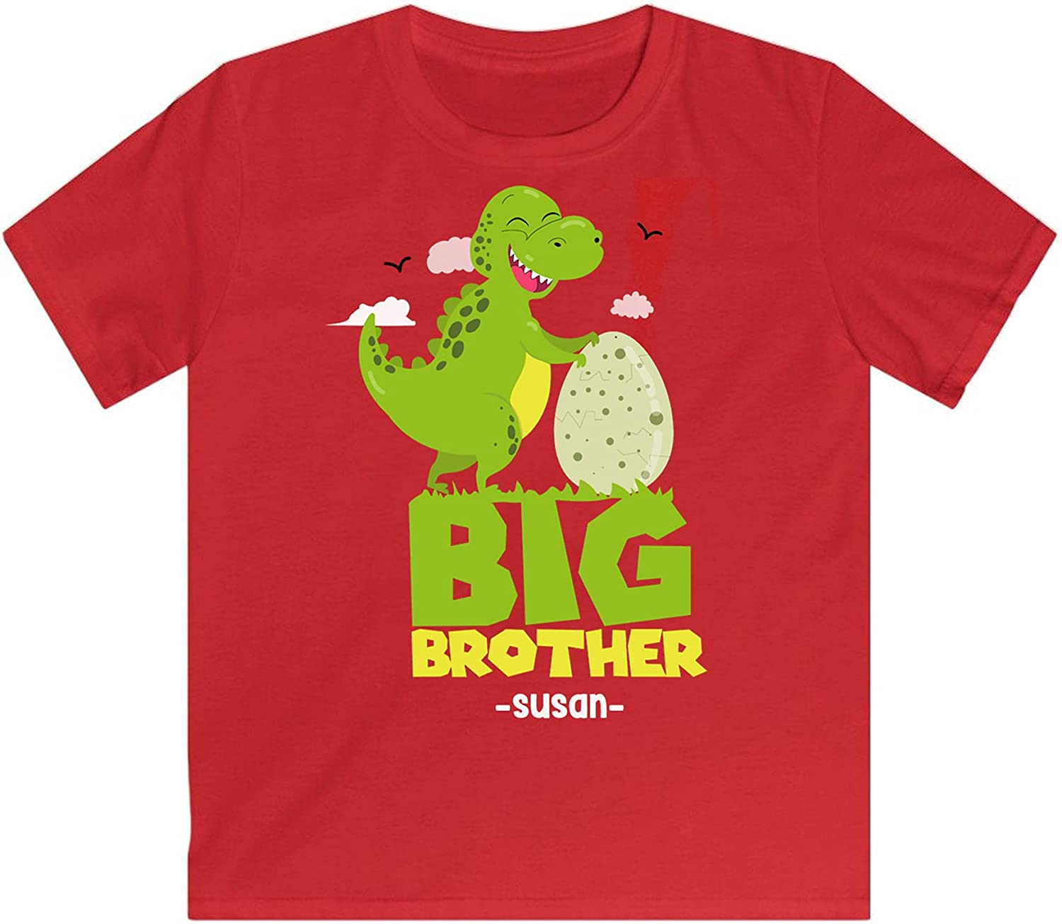 Personalised T Rex Dinosaur Toddler Shirt Dinosaur Shirt for Grandson Clothing Bro Tshirt for Kids Birthday Gifts for Brother Brother Collection Toddlers Shirts Gifts for Boys I'm Big Brother Shirt