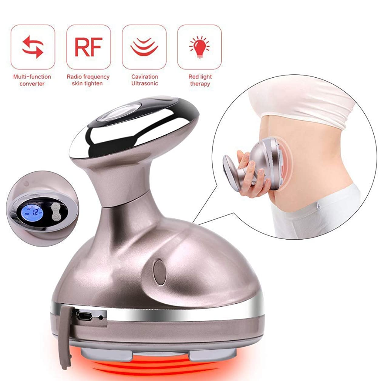 秘書便益促進するUSB 1に付きボディ形成のマッサージャーの無線周波数装置の赤灯の振動脂肪質の取り外し機械、減量機械RFのスマートなLCD表示が付いている暖かい細くのマッサージャー