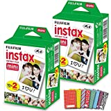 FujiFilm Instax Mini Instant Film 2 Pack (2 x 20) 40 Photo Sheets + 60 Assorted Colorful Mini Photo Stickers - for FujiFilm Instax Mini 11, 9 and 8 Camera, Fuji SP-1, SP-2, Polaroid Film