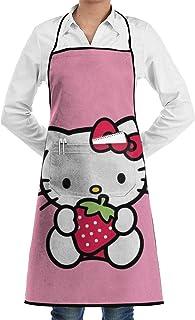 Pag Crane Delantal de Cocina - Hello Kitty con Estampado de Fresas, Delantales con Babero para Restaurante y cafetería con Bolsillo Grande
