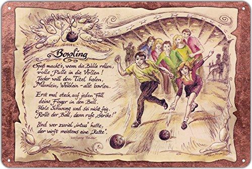 Geschenk Bowling Bowlingspieler Kegeln Blechschild 30 x 20 cm