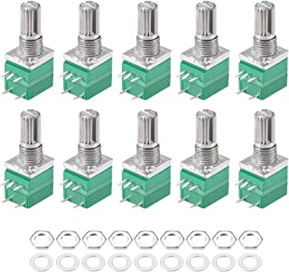 uxcell Potentiometer With Switch B10K Ohm Variable Resistors Single Turn Rotary Carbon Film Taper RV097NS 10pcs