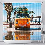 Promini Surfer Bus Duschvorhang, Badezimmer-Dekor, Palme, Funny Home Dekoration Kunst, VW Quirky Lächeln Badezimmer-Dekor, Strand Badewanne Dekor mit 11 Haken 66