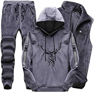 Maweisong Men's 3 Piece Sweatshirts Vest and Pants Outfit Tracksuit