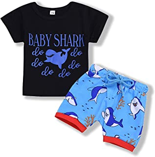 YOUNGER TREE Toddler Baby Boy Summer Outfit Letter Print Shirt Top Shorts Cotton Clothes Set