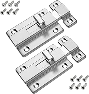 Door Bolts, 2 Pieces Stainless Steel Latch Sliding Door Lock, Surface Mounted Slide Bolt for All Types of Internal Doors