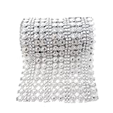 Honbay 4.5 Inch x 2 Yards Sparkling Flower Shape Diamond Mesh Wrap Roll Faux Crystal Rhinestone Mesh Ribbon for Wedding, Birthday, Baby Shower, Arts & Crafts,etc (Silver)