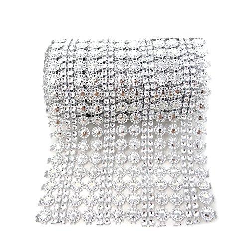Honbay 4.5 Inch x 2 Yards Sparkling Silver Flower Shape Diamond Mesh Wrap Roll Faux Crystal Rhinestone Mesh Ribbon for Wedding, Birthday, Baby Shower, Arts & Crafts,etc