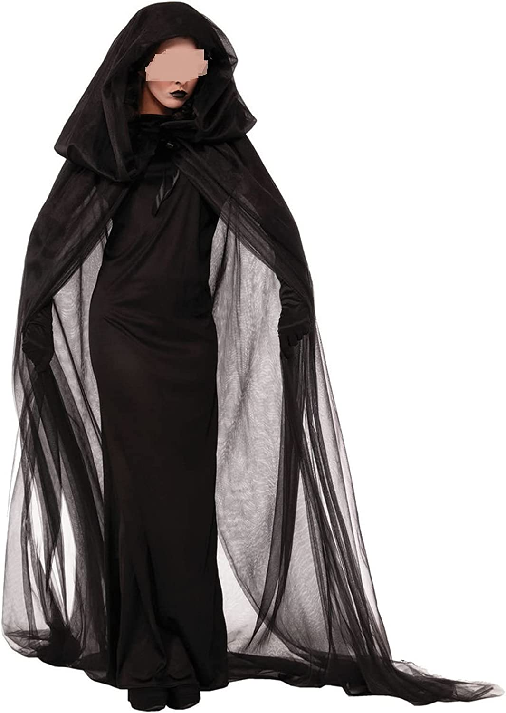 Mieeyali Women Long Hooded Cape Louisville-Jefferson County Mall Cloak Chiffon Black Ultra-Cheap Deals Coat Vampire