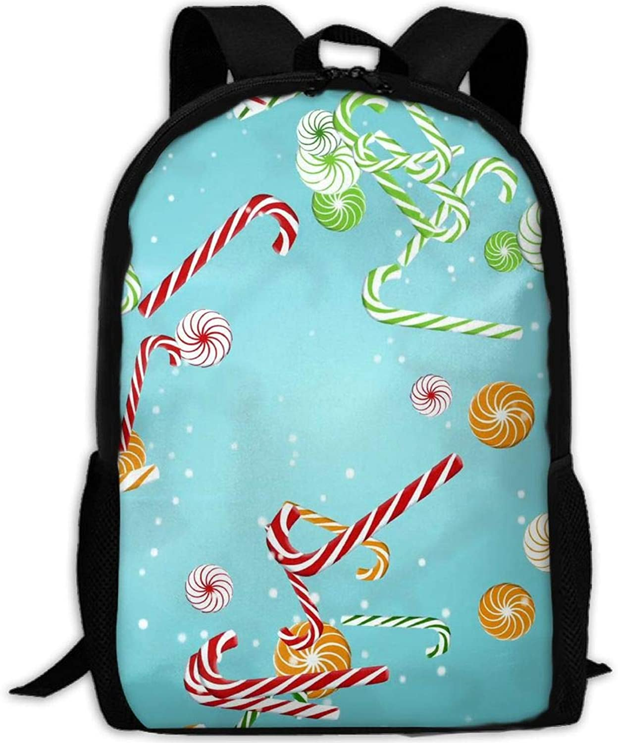 f96567276807 Backpack Briefcase Hiking School Shoulder Bags Candy Canes Daypack ...