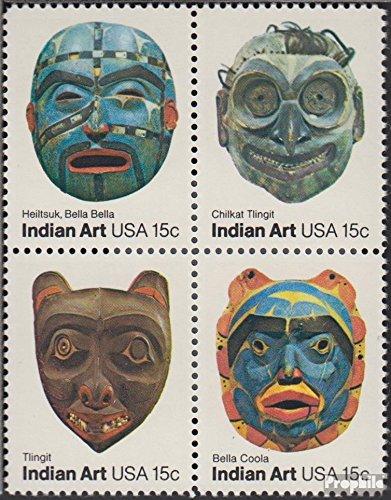 Prophila Collection USA 1441-1444 Viererblock (kompl.Ausg.) 1980 Indianer Masken (Briefmarken für Sammler)