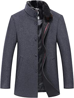 CHARTOU Men's Winter Business Detachable Fur Collar Single Breasted Woolen Pea Coat