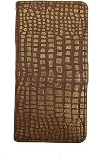 【Happy Smile】SONY Xperia X Compact SO-02J docomo 手帳型 スマホ ケース カバー 本革 ミラー付 横 ブラウン 系色 クロコ 風柄 保護フィルム付