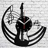 Guitarra Vinilo Reloj de Pared Disco para el hogar Arte Hecho a Mano Regalo Hecho a Mano para Hombres, Mujeres, Amigos, niños, 12 Pulgadas