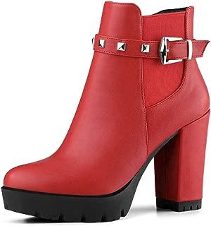 Women's Rivet Decor Platform Chunky Heel Ankle Boots