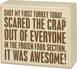 Primitives by Kathy Distressed Brown and White Box Sign, 5 x 4-Inches, Shot Turkey