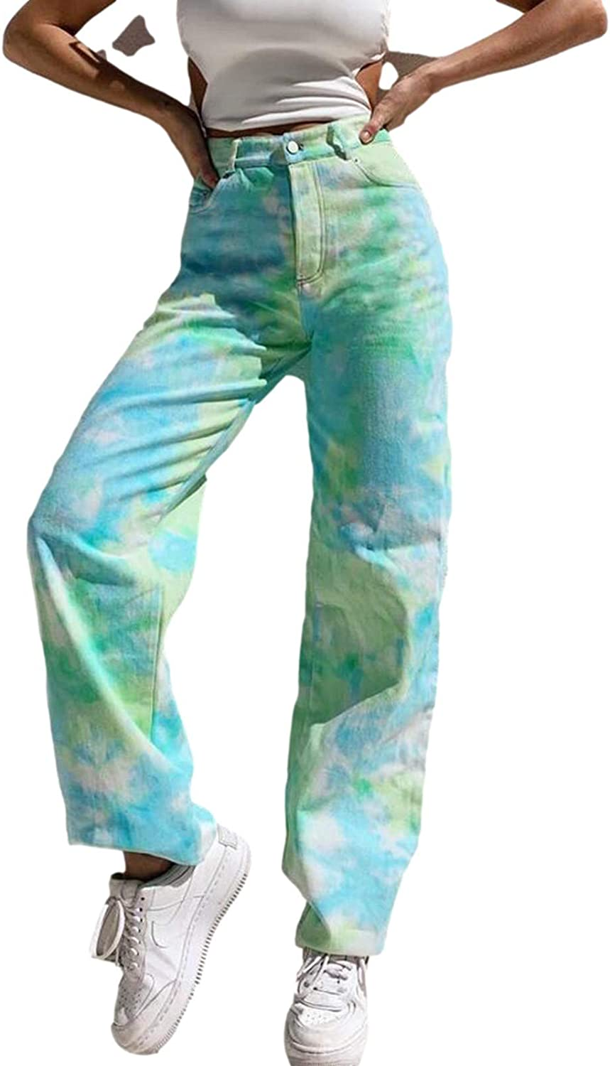 Womens High Waist Tie Dye Jeans Wide Leg Ripped Denim Pants Classic Straight Y2K Baggy Casual Jeans Pants