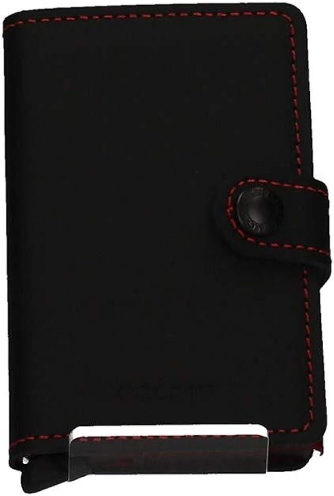 Secrid, portafoglio, porta carte di credito, in alluminio e pelle MM-Black & Red