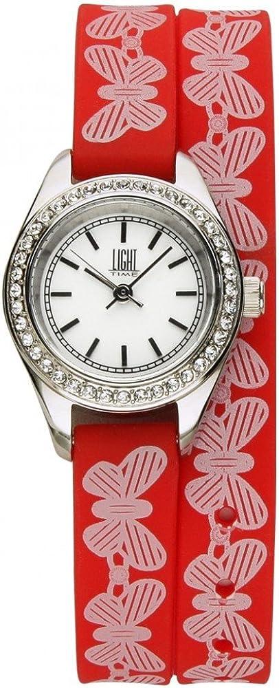 Light time rococo`,  orologio per donna, in acciaio inossidabile con cinturino in silicone 8054726935797