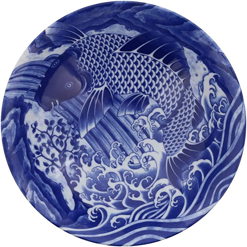 Zen Table Japan Blue And White Serving Bowl Made In Japan Koi