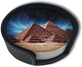 HBLSHISHUAIGE Pyramid Glowing Starry Sky Coasters with Holder Set,Round Mugs and Cups Mat Pad for Drinks,Suitable for Home and Kitchen(6PCS)