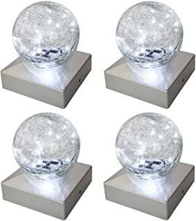 Solar Post Fence Cap Lights - SunnyPark Solar Deck Post Lights 4 x 4 Outdoor for Garden, Patio (Cool White, 4 Pack)