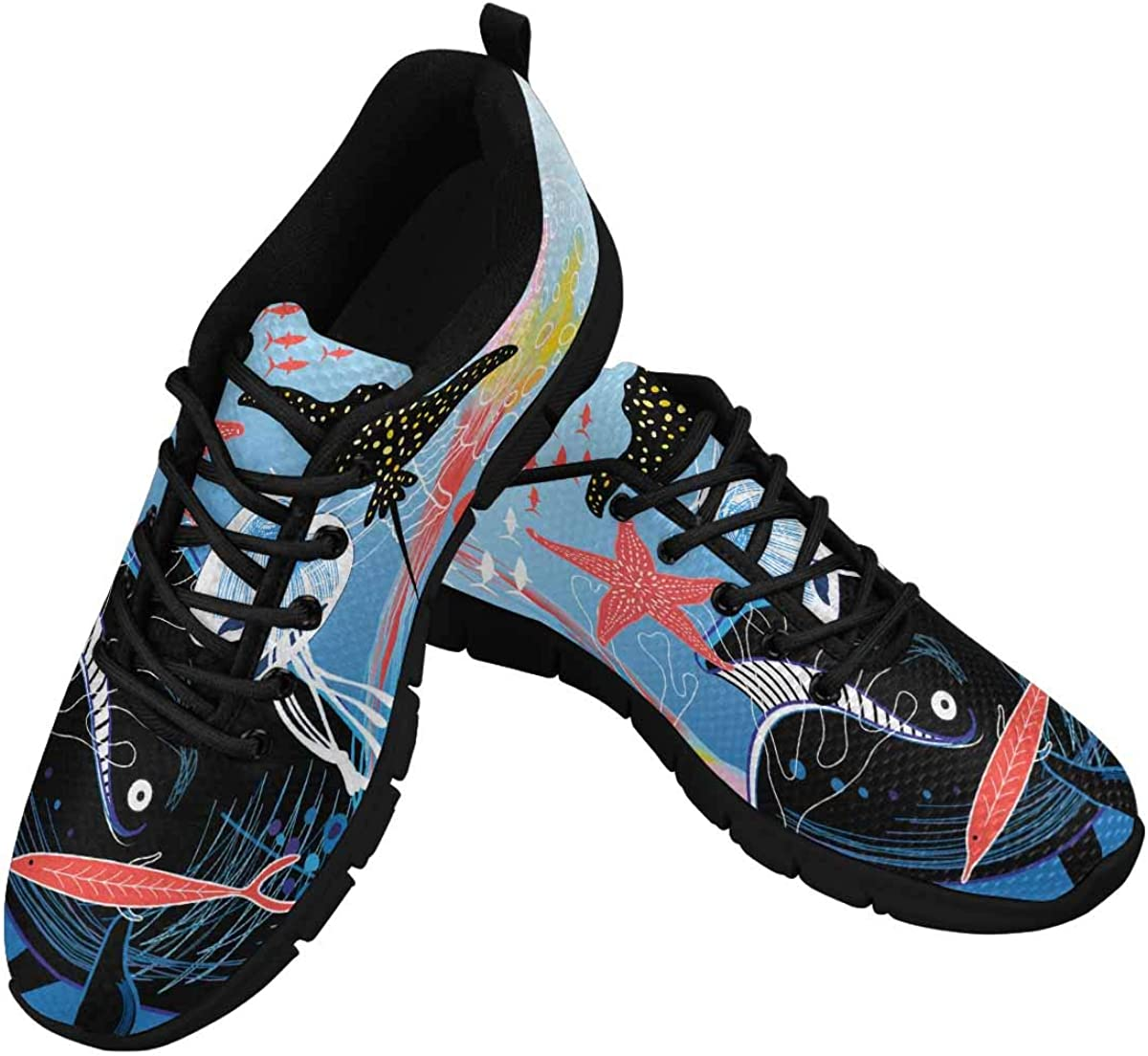 INTERESTPRINT Marine Background Women's Lightweight Athletic Casual Gym Sneakers