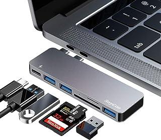 هاب USB C ، 6 در 1 آلومینیوم نوع C هاب آداپتور ، با 3 درگاه USB 3.0 ، کارت خوان TF / SD ، تحویل برق USB-C برای MacBook Pro 13 و 15 ″ 2016/2017/2018