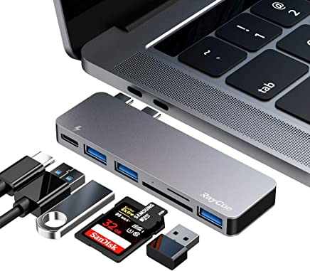 $21 Get USB C Hub, 6 in 1 Aluminum Type C Hub Adapter, with 3 USB 3.0 Ports, TF/SD Card Reader, USB-C Power Delivery for MacBook Pro 13″ and 15″ 2016/2017/2018