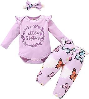FYMNSI Neugeborenes Baby Mädchen Outfit Baumwolle Langarm Strampler  Blumen Druck Langes Hose  Stirnband 3tlg Bekleidungsset für 0-24 Monate
