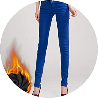 Glittering time-High Waist Pants Women's Warm Jeans for Woman Plus Size Candy Color Thick Velvet Winter Warm Jeans,Royal Blue,33