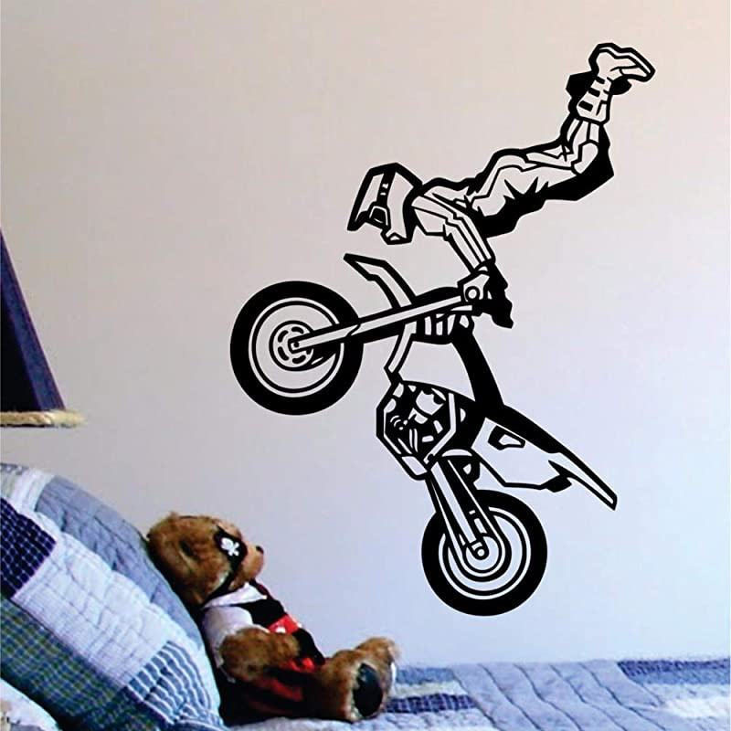 Motocross Trick Wall Decal Wall Vinyl Art Sports Decor Home Design Wall Stickers Living Room 53x71