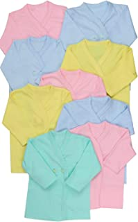 ToBeInStyle Babies' 4 Pack Swaddle Long Sleeve Button Up Kimono Wrap Tee Shirt