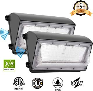 CINOTON LED Wall Pack Light, 80W 9600lm, 5000K Daylight Dusk to Dawn Photocell Outdoor Wall Light, Waterproof IP65 Commercial Lighting Fixture,125W-500W HPS/MH Replacement, ETL DLC Listed(2pack)