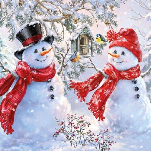 Serviette Zwei Schneemänner 20 Stück