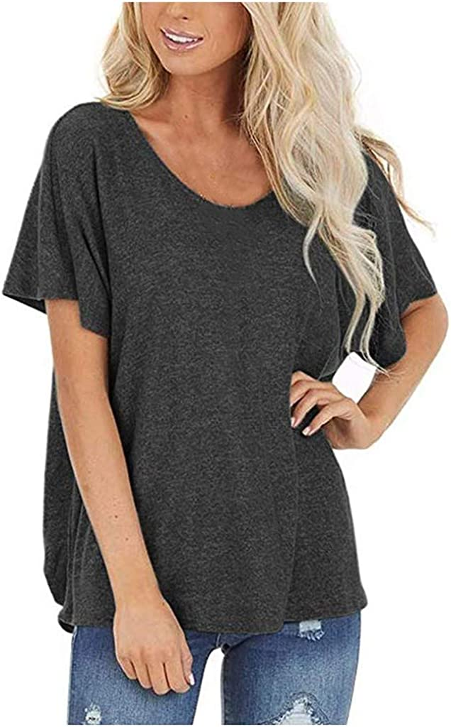 Plus Size Tunic Tops for Women,Color Back Sexy Round Neck Cutout Twists Casual T Shirts Flowy Blouses Tee Tops