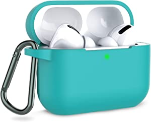 Coffea AirPods Pro Case with Keychain, AirPods 3 Protective Cover Silicone Case for AirPods Pro Charging Case (Front LED Visible)-Teal
