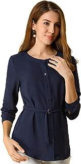 Allegra K Women's Long Sleeve Button Down Belted Top Casual Career Blouse Shirt