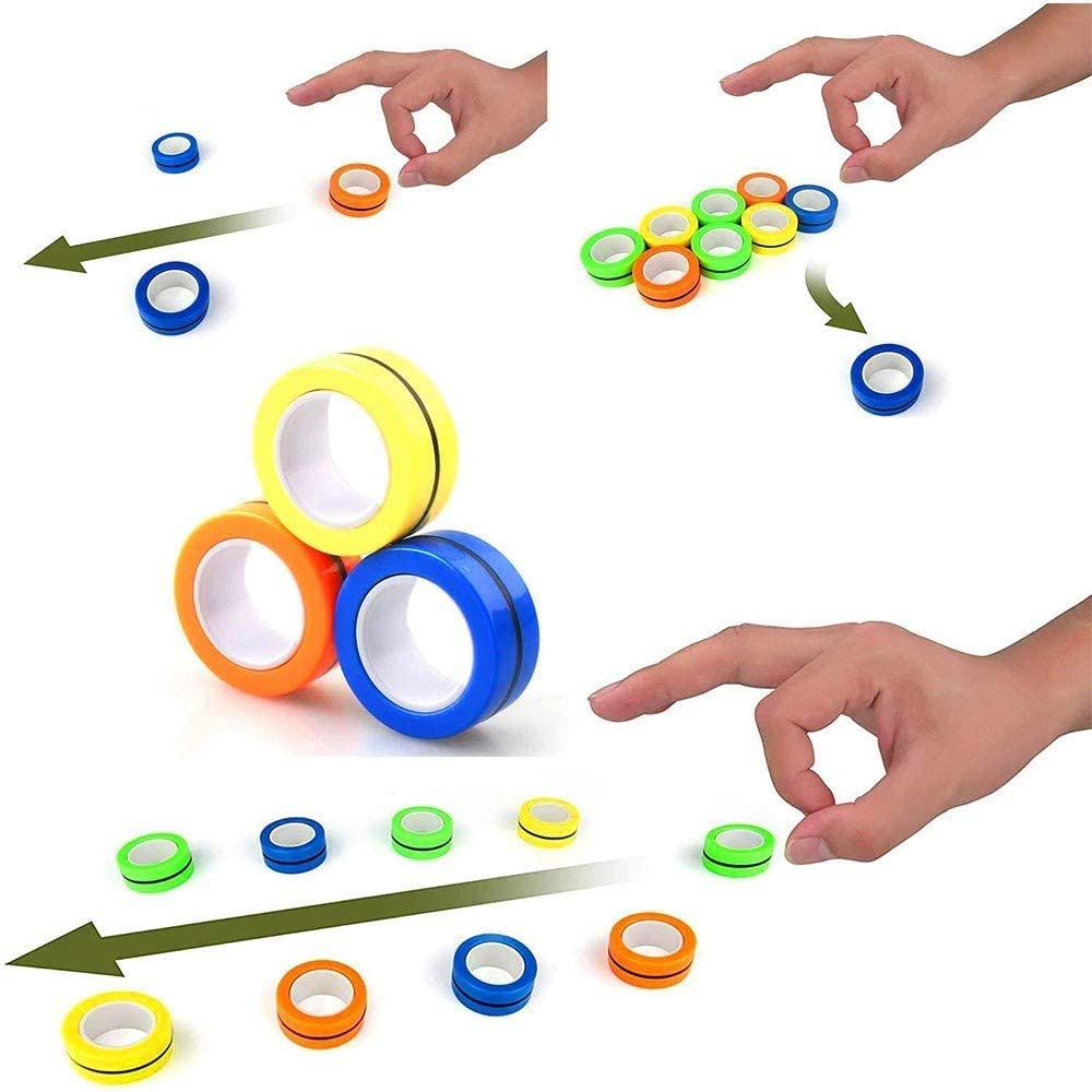 ALLFEIYA Magnetic Finger Rings Toy Color Combo Magical Finger Game Stress Relief Toy for Children and Adults