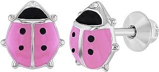 925 Sterling Silver Enamel Ladybug Earrings Screw Back Earrings Girls