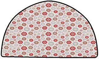 Anti-Fatigue Comfort Mat Christmas,Ornate Snowflakes Pattern in Circles Dots Winter Themed Old Fashioned Print,Ruby Pale Grey,W31 x L20 Half Round Kitchen Floor mats