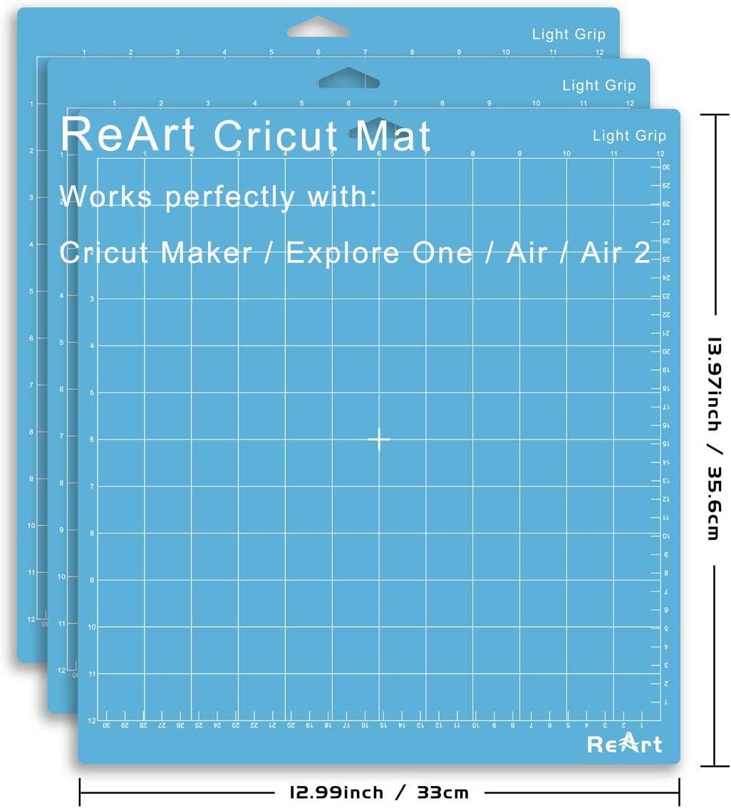 12x12 Inch, 3 Mats Fabric Adhesive Sticky Green Quilting Cricket Cutting Mats Replacement Accessories for Cricut Reart Light Grip Cutting Mat for Cricut Maker//Explore Air 2//Air//One