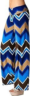 Women's Wide Leg Blue and Brown Chevron Print Pants
