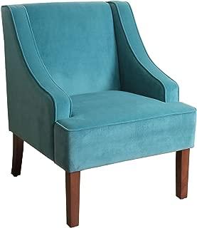 HomePop Velvet Swoop Arm Accent Chair, Teal