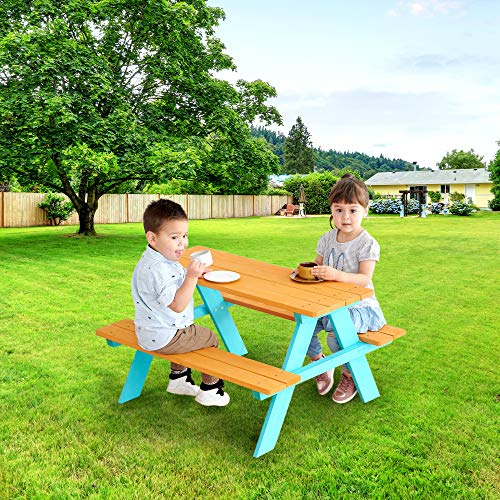 Teamson Kids - Wooden Outdoor Child Children Kids Picnic Table & Chair Bench Set - Wood/Petrol