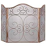 Protector de chimenea de malla de cobre con tres pliegues